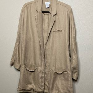 Soft Surroundings Tan Open Front Blazer Size Small